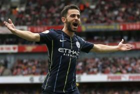 Manchester City's Bernardo Silva celebrated after scoring against Arsenal last Sunday.