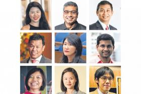 (Top row, from left to right) Ms Yip Pin Xiu, Mr Arasu Duraisamy, Mr Douglas Foo. (Second row, from left to right) Mr Ho Wee San, Prof Lim Sun Sun, Mr Abbas Ali Mohamed Irshad. (Third row, from left to right) Ms Anthea Ong, Ms Irene Quay, Professor Walter Edgar Theseira.