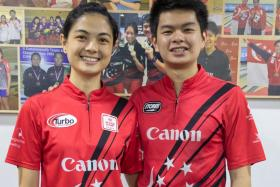 Singapore bowlers Daphne Tan (left) and Darren Ong.