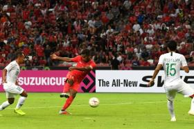 Singapore skipper Hariss Harun slamming home a loose ball to score in the 37th minute.