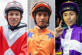 (From left) Jockey Amirul Ismadi, Jockey MM Firdaus and Matthew Poon.