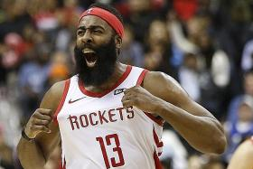 Harden's 54 points not enough for Rockets to defeat Wizards