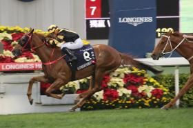 Glorious Forever (No. 8) leading all the way in the International Group 1 Longines Hong Kong Cup over 2,000m at Sha Tin yesterday.