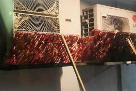 Raw meat dried on air-con vent outside HDB flat attracted pests