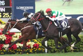 Exultant, with Zac Purton (black cap) astride, served up a finish to the Group 1 Longines Hong Kong Vase on Sunday.