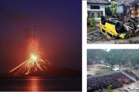 (Left) A long-exposure photo shows lava erupting from Mount Anak Krakatau volcano as seen from Rakata Island in Lampung province, Indonesia, on July 19. (Right) Handout photos made available by the Indonesia's national disaster management (BNPB) show the damage after a tsunami struck along the rim of the Sunda Strait.