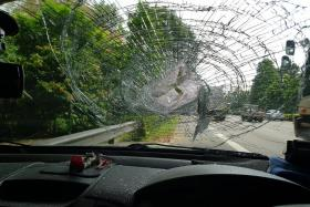 Lucky escape for couple after rock smashes through windscreen