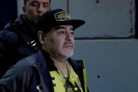 Diego Maradona, seen here arriving at the Alfonso Lastras stadium of Mexican second-division side Dorados last month, may need further checks after he was found with internal bleeding in the stomach.