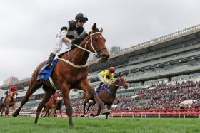 Jockey Zac Purton in full control as Exultant takes the Group 1 Citi Hong Kong Gold Cup over 2,000m at Sha Tin on Sunday.