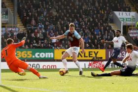 Burnley's Ashley Barnes scoring their winner.