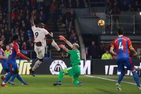 Manchester United's Romelu Lukaku scoring their second goal.