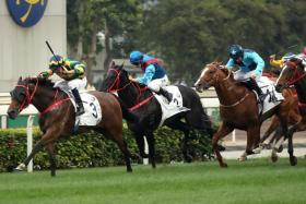 Furore (No. 3) winning the BMW Hong Kong Derby with Australian ace Hugh Bowman astride at Sha Tin on Sunday.