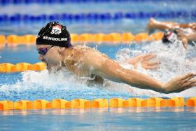 Joseph Schooling en route to winning the 100m butterfly at the Singapore National Age Group Swimming Championships in 52.70s.