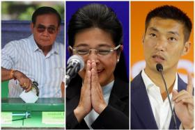 (From left) Thai Prime Minister Prayuth Chan-o-cha, Pheu Thai Party's prime minister candidate Sudarat Keyuraphan and Future Forward Party co-founder and leader Thanathorn Juangroongruangkit.
