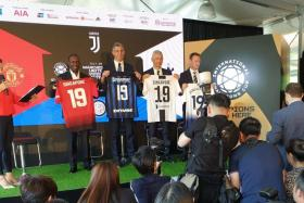 From left, legends Dwight Yorke, Francesco Toldo, Fabrizio Ravanelli and Teddy Sheringham at an event announcing the 2019 International Champions Cup fixtures in Singapore.