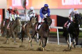 Thunder Snow (in blue) gets up in the last stride to beat Gronkowski in the Dubai World Cup at Meydan racecourse.
