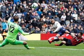 Lucas Moura firing in Tottenham's fourth goal and his third against Huddersfield.