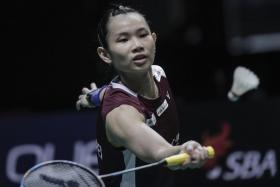 Tai Tzu-ying on her way to clinching the Singapore Badminton Open title by defeating Nozomi Okuhara in the final.