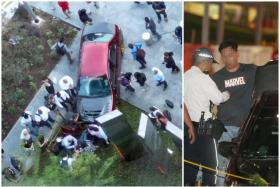(Left) The car ploughed into pedestrians after mounting a pavement at Marina Bay Financial Centre. The driver (right) was arrested.
