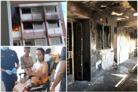 (Clockwise from top left) The fire raged outside the flat at Block 492E, Tampines Street 45. The charred corridor after the fire. Mr Nazarudin Nordin being checked by SCDF officers.