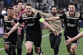 Ajax captain Matthijs de Ligt leading the celebrations after the Dutch side reached the Champions League semi-finals.