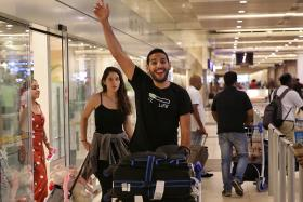 Nas Daily founder and travel vlogger Nuseir Yassin and his girlfriend Alyne Tamir arriving at Changi Airport Terminal 2 on 17 April 2019.