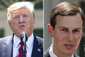 (From left) US President Donald Trump and son-in-law Jared Kushner had transactions flagged by employees at the German bank.