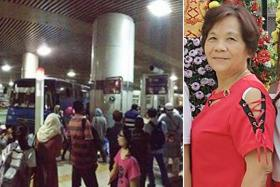 Madam Yong Kong Fong (right) died after the accident at the Woodlands Checkpoint (left).