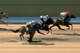 Fulife Brilliance taking Trial 3 impressively at Kranji on Tuesday morning.