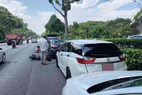 A motorcyclist was killed in an accident involving three cars and a tipper truck along the AYE