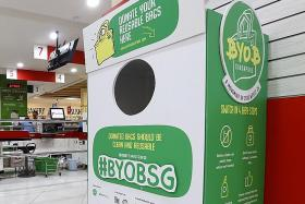 Drop unused reusable bags into donation bins at supermarkets