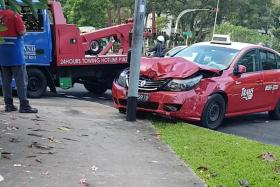 Driver rescued from car after accident with taxi in Ang Mo Kio