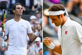 Rafael Nadal (left) and Roger Federer (right) will meet for the 40th time in the Wimbledon semi-finals today.