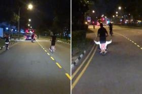 The four e-scooter riders, two of whom had passengers riding pillion, were captured on video.