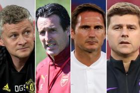 From left, Manchester United manager Ole Gunnar Solskjaer, Arsenal boss Unai Emery, Chelsea's Frank Lampard and Tottenham Hotspur's Mauricio Pochettino.
