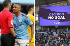 Manchester City striker Gabriel Jesus remonstrates with referee Michael Oliver after his last-gasp goal was disallowed by the VAR.