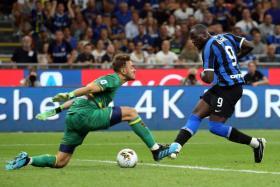 Romelu Lukaku scoring on his debut for Inter Milan, who won 4-0 at Lecce.