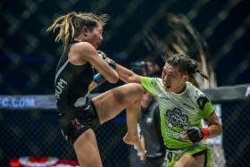 Angela Lee (left) will be taking on Xiong Jingnan again, in the ONE: Century event in Japan on Oct 13.