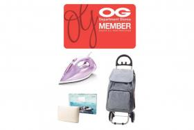 (Clockwise from top) The OG Member Digital Card, the Smart Living Shopping Trolley with Insulated Cooler Compartment, the Ortho Living Premium Cool Touch Memory Foam Pillow and Azur Steam Iron 2400W.