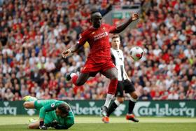 Sadio Mane on the way to scoring Liverpool's second goal.