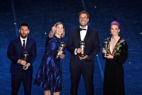 (From left): Best Fifa Men's player Lionel Messi, Best Fifa Women's coach Jill Ellis, Best Fifa Men's coach Juergen Klopp and Best Fifa Women's player Megan Rapinoe.