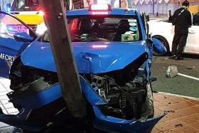Cabby, passengers taken to SGH after crash in Chinatown
