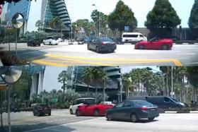 A video shows a grey Toyota Altis turning into Bayfront Avenue. The red Ferrari veers right to avoid it but slams into the back of a white vehicle.