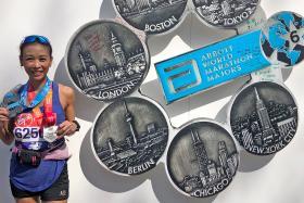 Mum, 46, goes from training partner to finishing all 6 marathon Majors