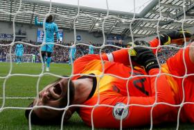 Hugo Lloris clutching his elbow after injuring it in a fall just a few minutes into the Brighton game.