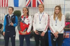 Singapore's Amita Berthier (second from left) had beaten Italy's Elena Tangherlini (first from left) in the final. With them are Poland's Marta Lyczbinska (second from right) and Julia Walczyk.