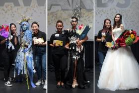 (From left) Ms Shaynne Ng and Ms Li Li Juan, winners of the Body Art/Special Effects category, Ms Iryanti, winner of the Fashion category, and Ms Carrine Leong, winner of the Bridal category.