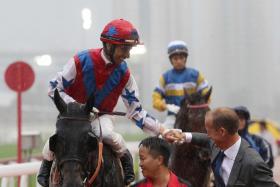 The happy combination of jockey Joao Moreira and trainer Richard Gibson at Sha Tin on Sunday,
