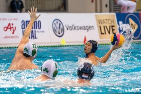 Singapore's Chow Jing Lun contributing a goal as the Republic beat Ireland 11-8 to seal their place in Sunday's final.