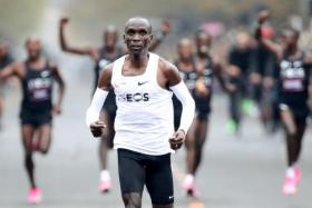 Kenya's Eliud Kipchoge on his way to finishing the marathon.